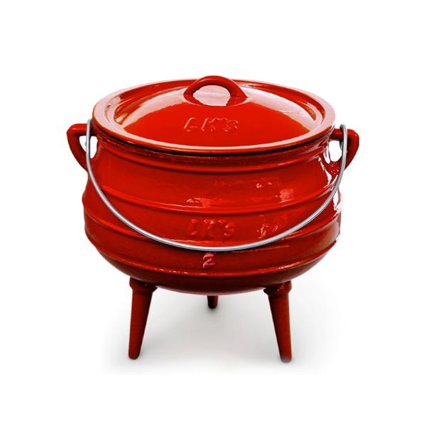 Pot 3-leg #2 red enamel 145-1 temp